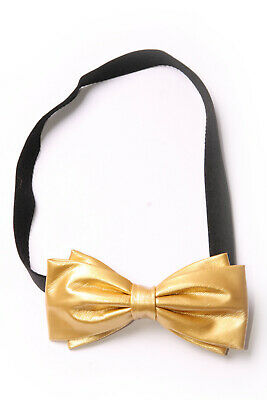 Black Elastic Women Headband w Glossy Gold Colour Two Large Bows Brand New(S605)