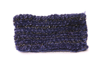 Babies Navy Blue Elastic Wide Headband w Shinny Black Lines Elegant Kid (S605)