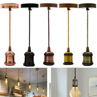 5 Colours Ceiling Corded E27 Pendant Light Fitting Rose Fabric Suspension Set UK