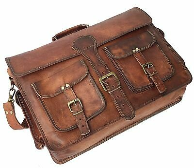 Large Men's Hand-Crafted Genuine Vintage Leather Briefcase Messenger Laptop Bag