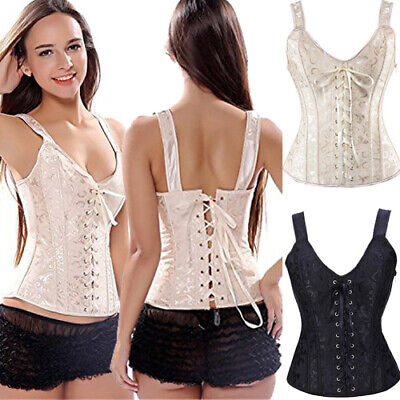 Burlesque Basque Moulin Jacquard Bustier Corset Top Boned Lace up Dress Costume