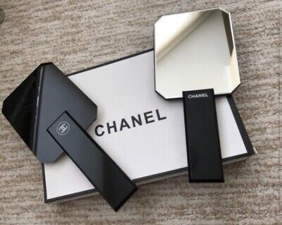 Authentic Chanel double mirror & handheld black mirror limited edition