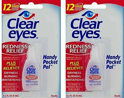 2 Packs Clear Eyes Redness Relief Eye Drops -0.20 oz -UK Seller- Exp:05/2020