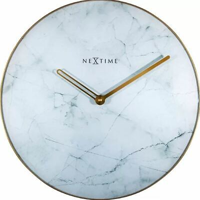 Nextime Marble 40cm Silent Wall Clock white with gold Metal Hands and Frame