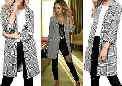 Ladies Hounds Tooth Gingham Check Print Duster Womens Blazer Coat Jacket Top