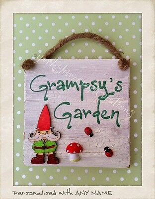 Outdoor Name Sign. PERSONALISED Wooden Weatherproof Home Plaque. Garden Gnome