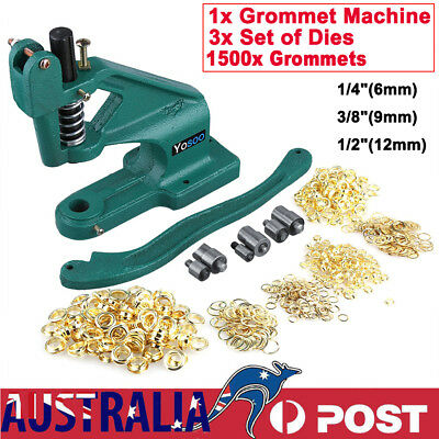 1500 Grommets Eyelet Hole Punch Machine Hand Press Banner Bag 3 Dies Grommet Kit