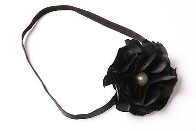 Elastic Black Headband w Large Multi-Layer Flower Retro Pearl Middle Bead (S606)