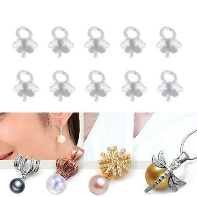 10X 925 Sterling Silver Cup Pearl Bail Pin Pendants For Half-drilled Beads