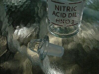 EMPTY NOS Pyrex reagent bottle  with ground glass stopper 250 mL dil HNO3 USA
