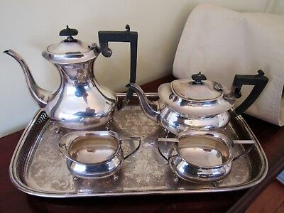 Silver plate tea & coffee set 5 pieces  Antique set with art deco flair English