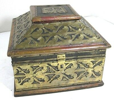 """Wood, Brass & Copper Overlay Cash Letter Box Chest Vintage Large 9""""W x 7.25""""H"""