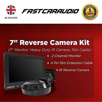 "Universal Reverse Camera Kit 7"" Hd Monitor Camera Extention Lorry Truck Van"