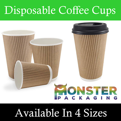 DISPOSABLE PAPER TEA COFFEE CUPS WITH LIDS AVAILABLE IN 4oz 8oz 12oz 16oz RIPPLE