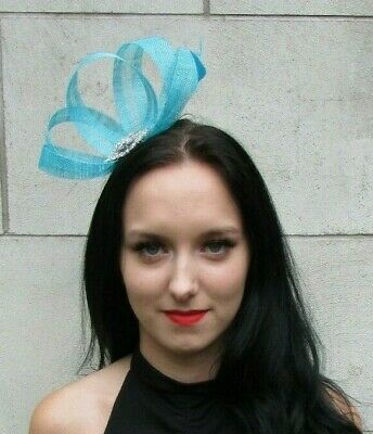 Aqua Turquoise Cyan Silver Fascinator Feather Sinamay Races Cocktail Hair 7350