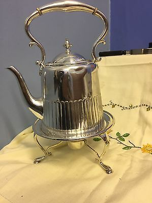 Antique Victorian Half Ribbed Silver Plated Spirite  Kettle  K & Co #GT