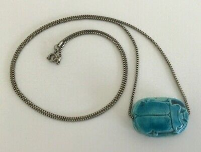 """Vtg Egyptian Revival Turquoise Glazed Faience Scarab on Silver Tone Chain 26"""""""