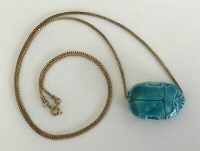 """Vtg Egyptian Revival Turquoise Glazed Faience Scarab on Gold Tone Chain 26 1/2"""""""