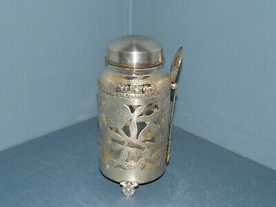 Vintage Nestle Glass Bottle with Sterling Silver Overlay, Lid and Spoon
