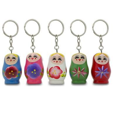 Five Matryoshka Wooden Russian Nesting Dolls Key Chains 1.75 Inches