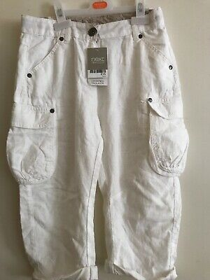 Next Girls White Linen Cropped Trousers Age 9-10 New With Tags