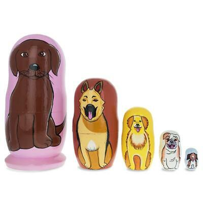 Five Dogs Wooden Nesting Dolls 5.75 Inches