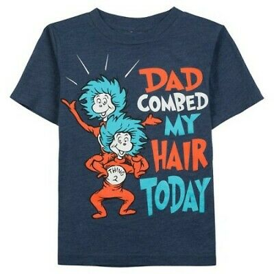 "Nwt Toddler Boy Dr Seuss One Thing Two Thing ""dad Combed My Hair"" - 2T, 3T 4T"
