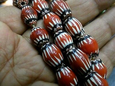 Very Old Red Color Oval Mosaic Roman Glass Beaded Necklaces |Roman Glass Necklac