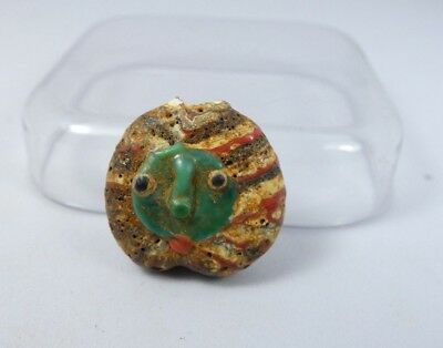 Ancient Roman Mosaic Double Face Glass Pendant Bead 23*21*10 mm|Ancient Face #13