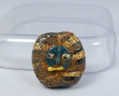 Ancient Roman Mosaic Double Face Glass Pendant Bead 20*20*10 mm|Ancient Face #14