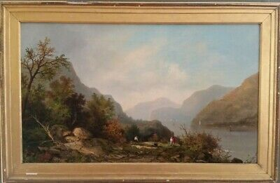Antique *Picnic On The Hudson River*  Signed 1874 Oil Painting