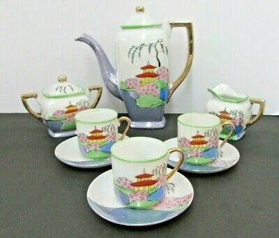 Luster Lusterware Japan Teaset Teapot Creamer Cups Saucers 11Lot