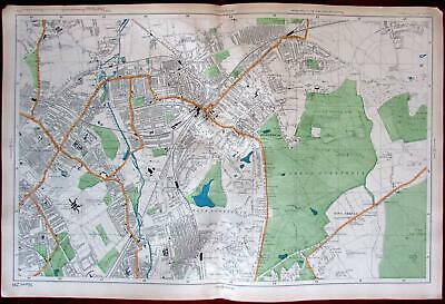 Wimbledon London city plan c.1911 detailed uncommon map