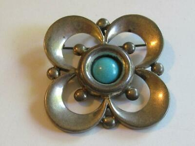 Vintage 1960s Sterling Silver Turquoise Pansy Flower Pin / Pendant Taxco Mexico