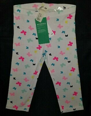 H&M Girl's 4-5Y White Multi-color Butterfly Cropped Leggings NWT