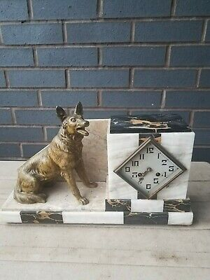 XL Heavy Marble French ART DECO 1920s Clock with spelter German Shepard