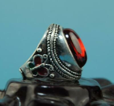 China old hand-made silver inlay zircon carve cloisonne butterfly ring 02