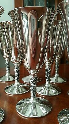 "Silver Plate Water Wine Goblets 7"" tall (Lot of 12) SUPER NICE!!"