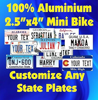 "50 States Any Text Personalize Custom 2.5""x4"" Mini Bike Bicycle License Plate"