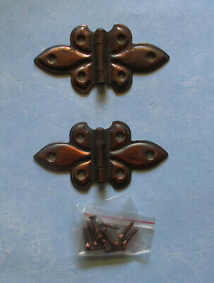 "Vintage butterfly flush hinge copper flash 3 ¾"" – 1 pair cabinet door cupboard"