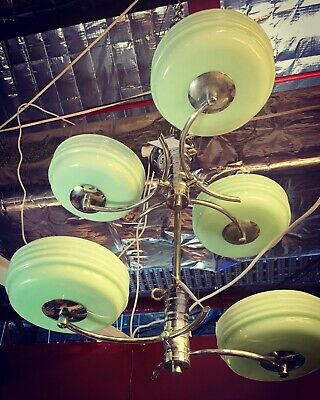 x2 1930's Art Deco Empire Ceiling Lights with Glass Shade's & Chrome Fixtures