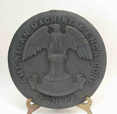 Antique American Machine & Eng'r Engineer Cast Iron Plaque Plate Cover Eagle Rr