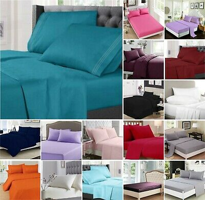 Full Fitted Flat Sheet Bed Sheets Poly Cotton Single Double King Super King Size