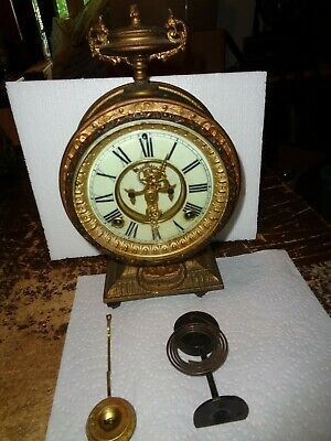 Antique-Ansonia-Statue Clock-Tower & Movement/Parts-Ca.1890-To Restore-#T701