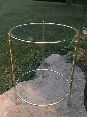 Vtg gold faux bamboo glass top Round Table Hollywood Regency Mid Century Side