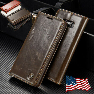 For Samsung Note 8 S9 S10 Plus Luxury Flip Leather Wallet Stand Phone Case Cover
