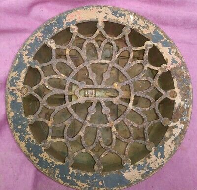 "10 1/2"" Round Heat Air Grate Register Louver Old 1880s Vintage Flower Cast Iron"