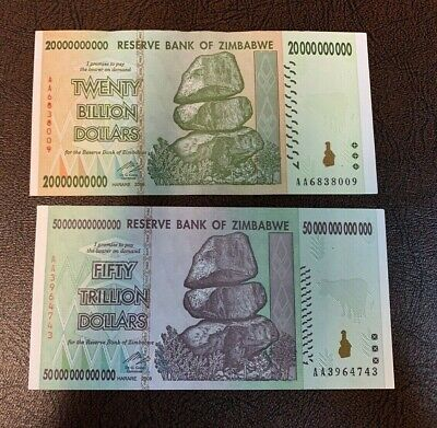 Zimbabwe 2008 50 TRILLION & 20 BILLION DOLLARS BANKNOTE 100  SERIES