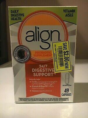 ALIGN PROBIOTIC SUPPLEMENT  24/7 Digestive Support 49 CAPSULES  EXP 08/2019 Read