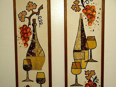 "Pair Vtg MCM Pebble Gravel Artwork 3D Wine Grapes Dining Room Wall Decor 24""x8"""